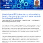 The Industrial Marketing Agency Newsletter - September 2013: How industrial PR is keeping up with marketing trends