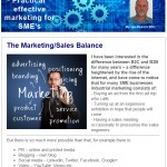 The Marketing/Sales Balance - 18th March 2015 Newsletter