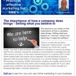 The importance of how a company does things - Selling what you believe in, 10th June 2015 Newsletter