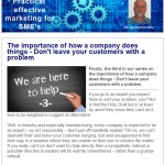 The importance of how a company does things - Don't leave your customers with a problem, 24th June 2015 Newsletter