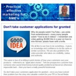 Don't take customer applications for granted, 18th August 2015 Newsletter