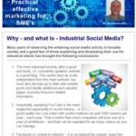Why - and what is - Industrial Social Media? 21st January 2016 newsletter